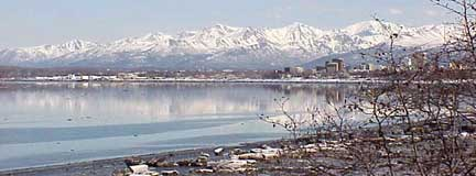 Anchorage and mountains
