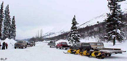 Snowmachines at Summit Lodge